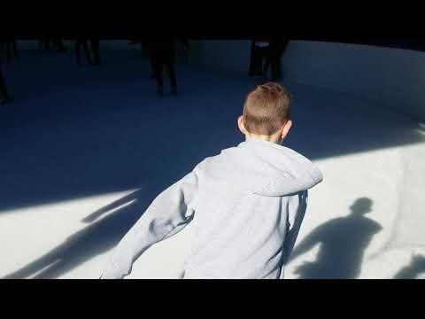 NYC penguin hockey stop ice skating
