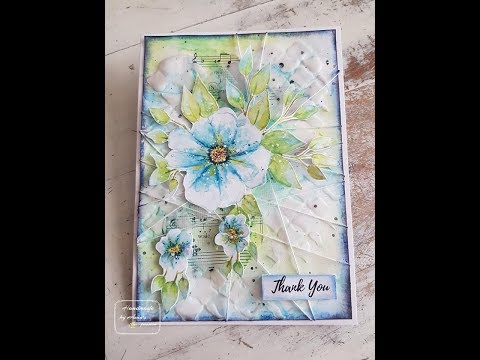 Mixed media Thank you card with Maremi's Small Art stencil and watercolor print outs