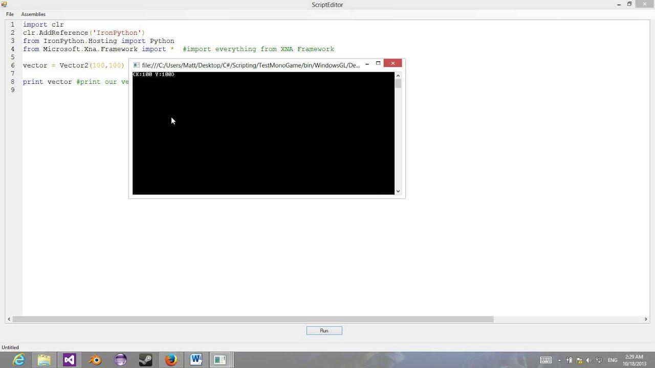 C# IronPython: MonoGame/XNA Scripting Engine Showcase