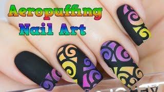 Airbrush effect nails with aeropuffing nail art / Легкий способ дизайна ногтей с аэропуффингом