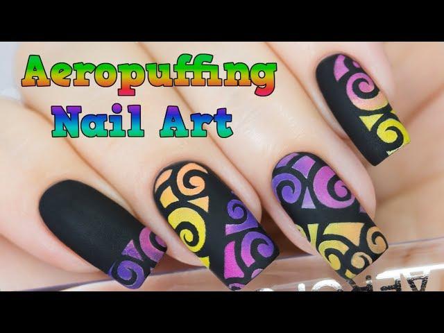 Airbrush effect nails with aeropuffing nail art / ?????? ?????? ??????? ?????? ? ?????????????