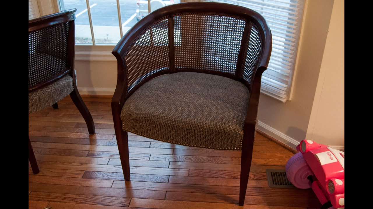 & DIY: How To Refinish u0026 Reupholster A Chair- Cane Chair Pt. 1 - YouTube