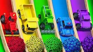 Learn Colors with Street Vehicle and Surprise Soccer Ball  Magic Water Slide for Children