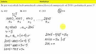 Zadanie 24. Matura 2018 matematyka pp. Ciąg arytmetyczny | MatFiz24.pl