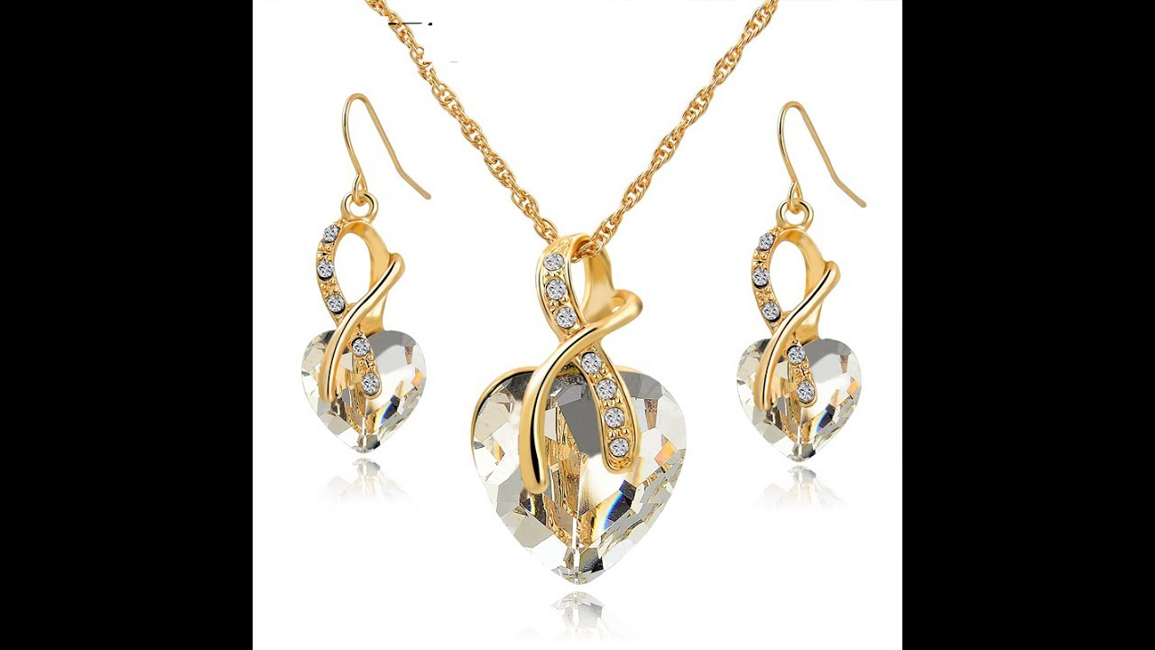 simple gold plated pendant set jewelry designs modern