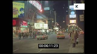 1986 Times Square Traffic at Night, New York, HD from 35mm