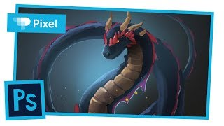 Рисуем дракона в Adobe Photoshop | цифровое рисование на графическом планшете