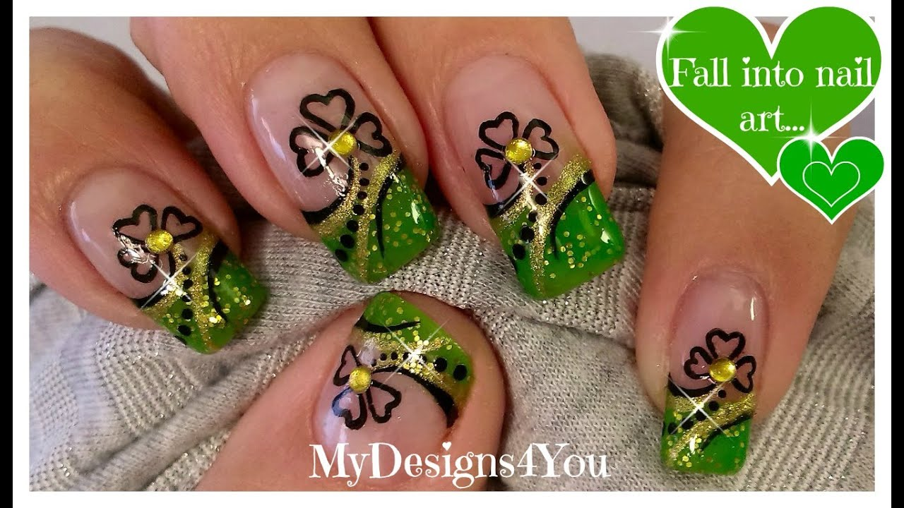 St. Patrick\'s Day Nail Art | Green and Gold, Shamrock French ...