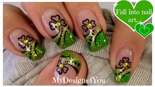 St. Patrick's Day Nail Art | Green and Gold, Shamrock French ♥