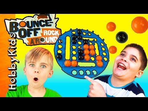 Bounce Off Game ROCK AROUND! Balls Slide + Tilt and Turn HobbyFamily Fun Game Time HobbyKidsTV