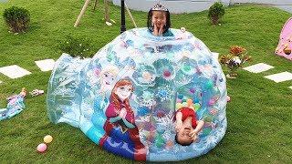 Van and Nam Pretend Play with Magic Frozen Elsa Igloo Story for Kids, BaBiBum