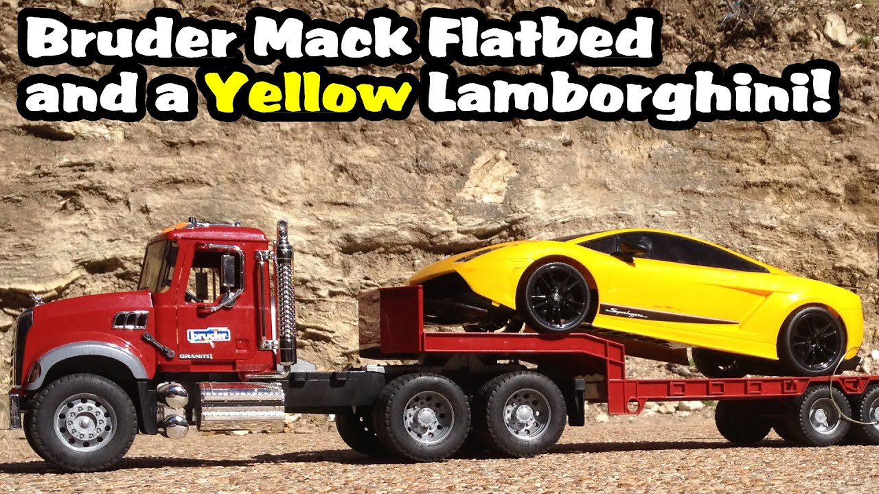 Toy Bruder Mack Flatbed Truck And Yellow Lamborghini Exotic Sports