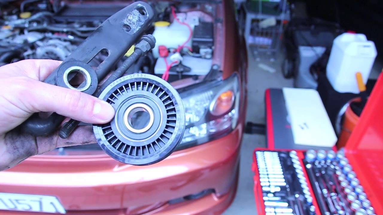 small resolution of idler pulley removal and replacement aka tensioner pulley subaru legacy gt and wrx youtube