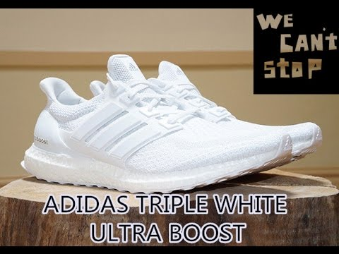 cf574baa91e57 NEW VERSION !2016 Triple White Adidas Ultraboost + On FEET Review ...