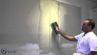 Coating a butt joint with hawk and trowel - Drywall Instruction