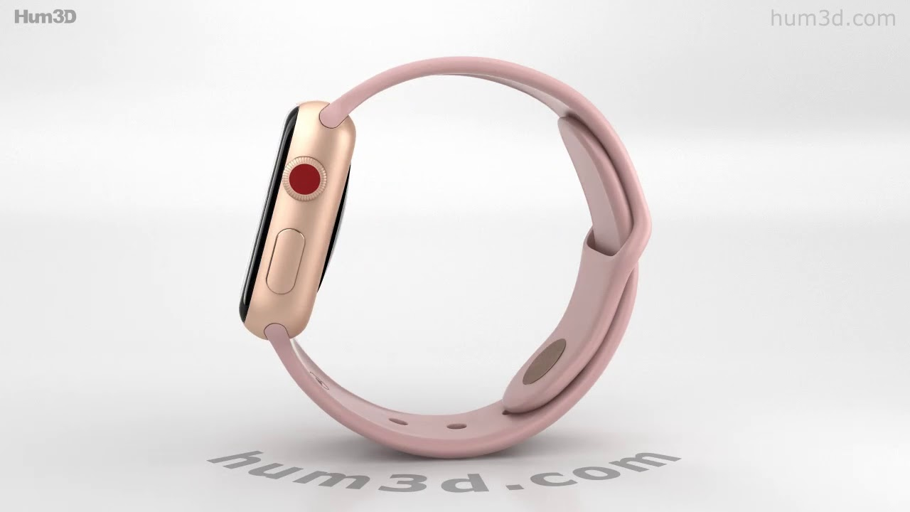Apple Watch Series 3 38mm GPS + Cellular Gold Case Pink Sport Band 3D model  by Hum3D com