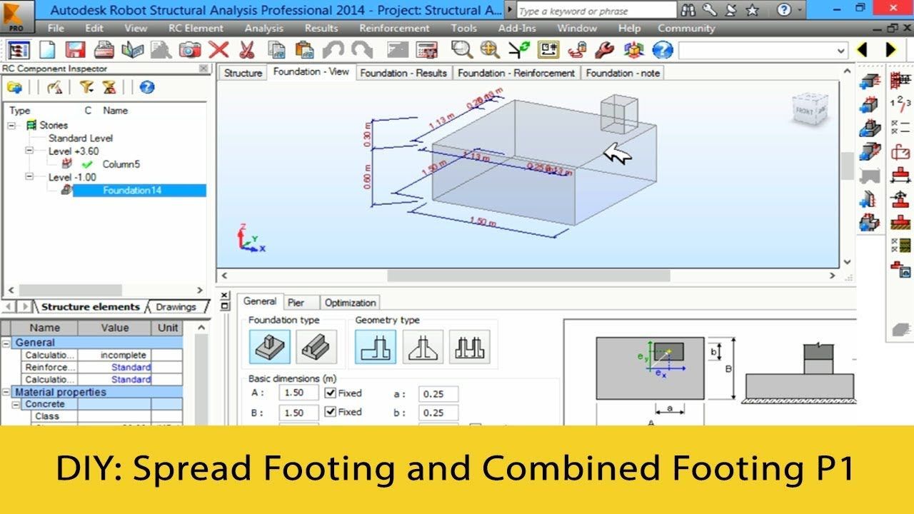 Autodesk Robot Tutorials 2016 - How to Design Spread Footing and Combined  Footing Part 1