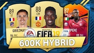AMAZING 600K HYBRID w/ HEADLINERS PEPE! FIFA 19 SQUAD BUILDER