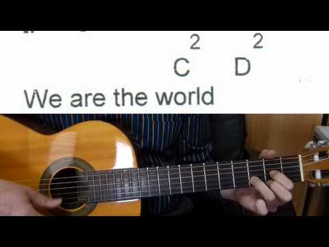 Guitar Accompaniment - We Are the World - Easy Guitar (Including lyrics and chords)