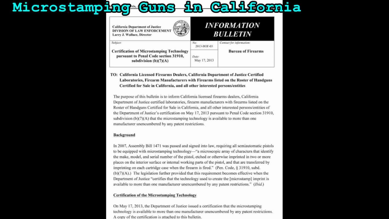Microstamping of guns in california youtube microstamping of guns in california 1betcityfo Images