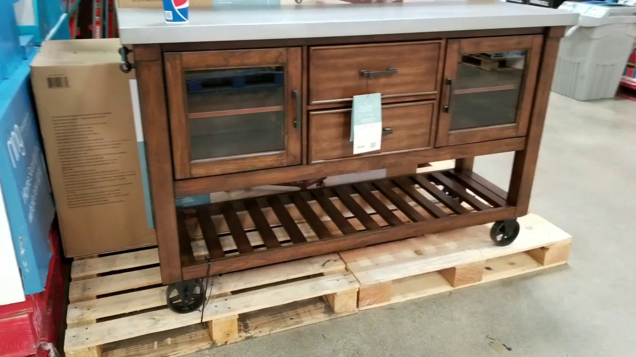 costco kitchen smart appliances bayside wood and galvanized metal top island console 399