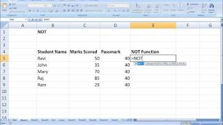 NOT Formula in Excel Tamil   Excel formulas and Function in Tamil NOT Formula Part 15