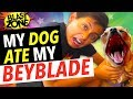 My Dog Ate My Beyblade Burst! Beyblade Battle and Funny Dog Prank
