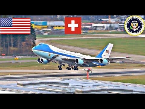 POTUS Trump Departing Switzerland Marine 1 Air Force 1 + ATC Radio WEF 2018