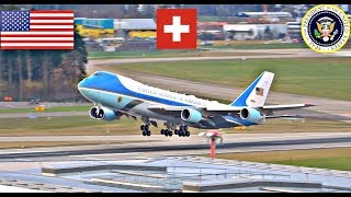 POTUS Trump Departing Switzerland Marine 1 Air Force 1 + ATC Radio WEF 2018