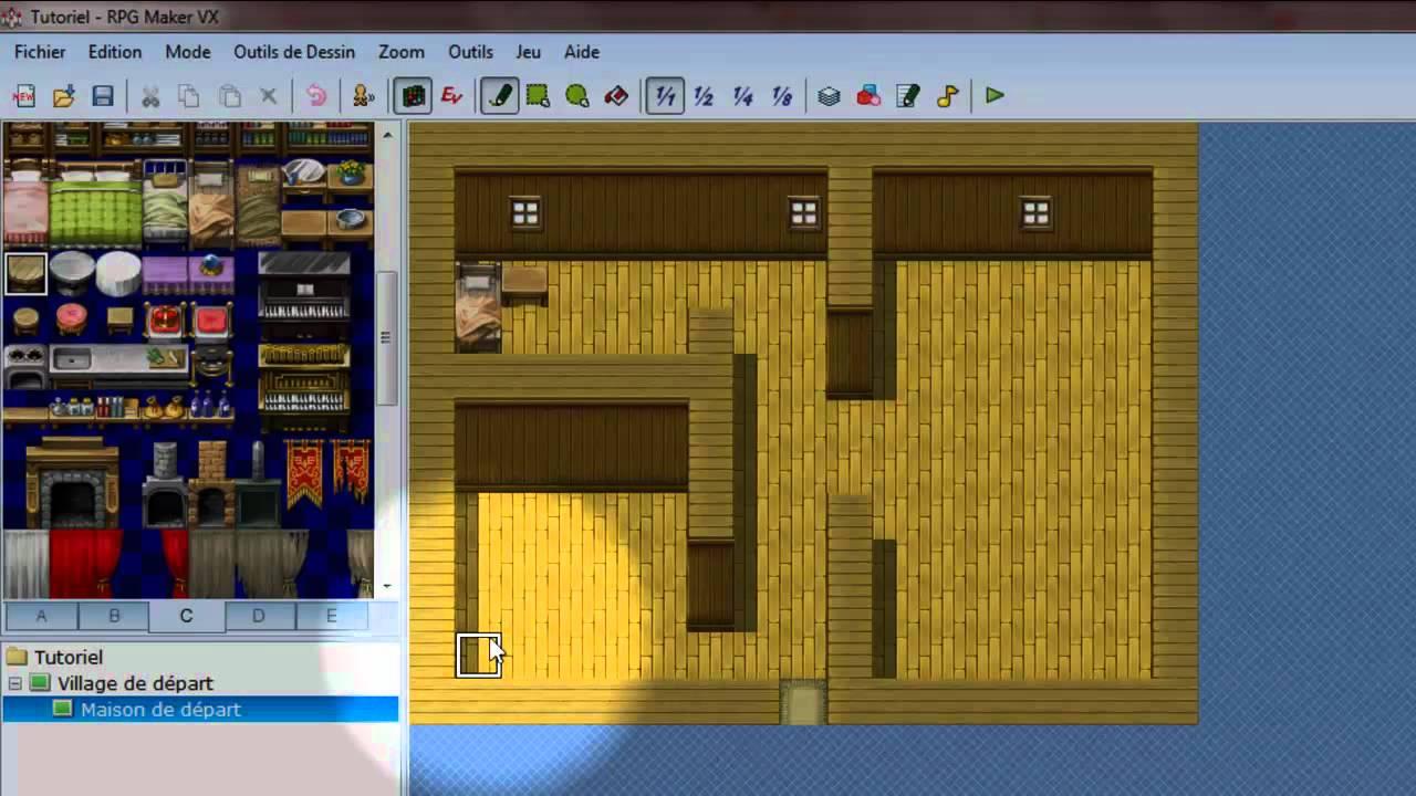 Tuto création jeu RPGMakerVX , Partie III , Créer l\u0027intérieur d\u0027une maison