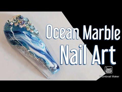 Ocean Marble Nail Art Tutorial | Easy Nail Art | Gel Polish Nail Art