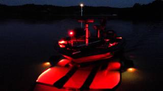 Loading bass boat at night with Bluewater LED lights