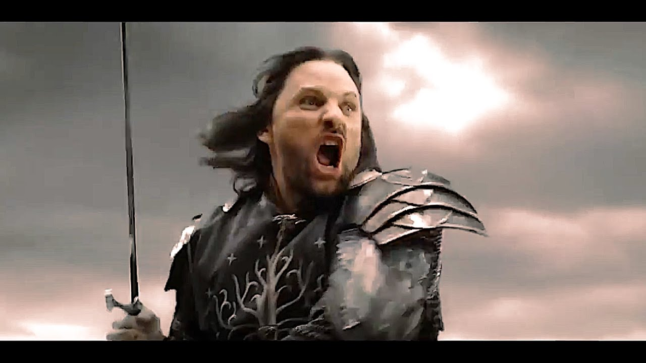 Image result for aragorn running into battle