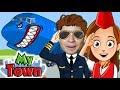 Летим в Турцию на отдых Пилот выпрыгнул с самолета на парашюте My Town Airport Game KIDS CHILDREN mp3