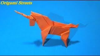 Оригами Единорог из бумаги
