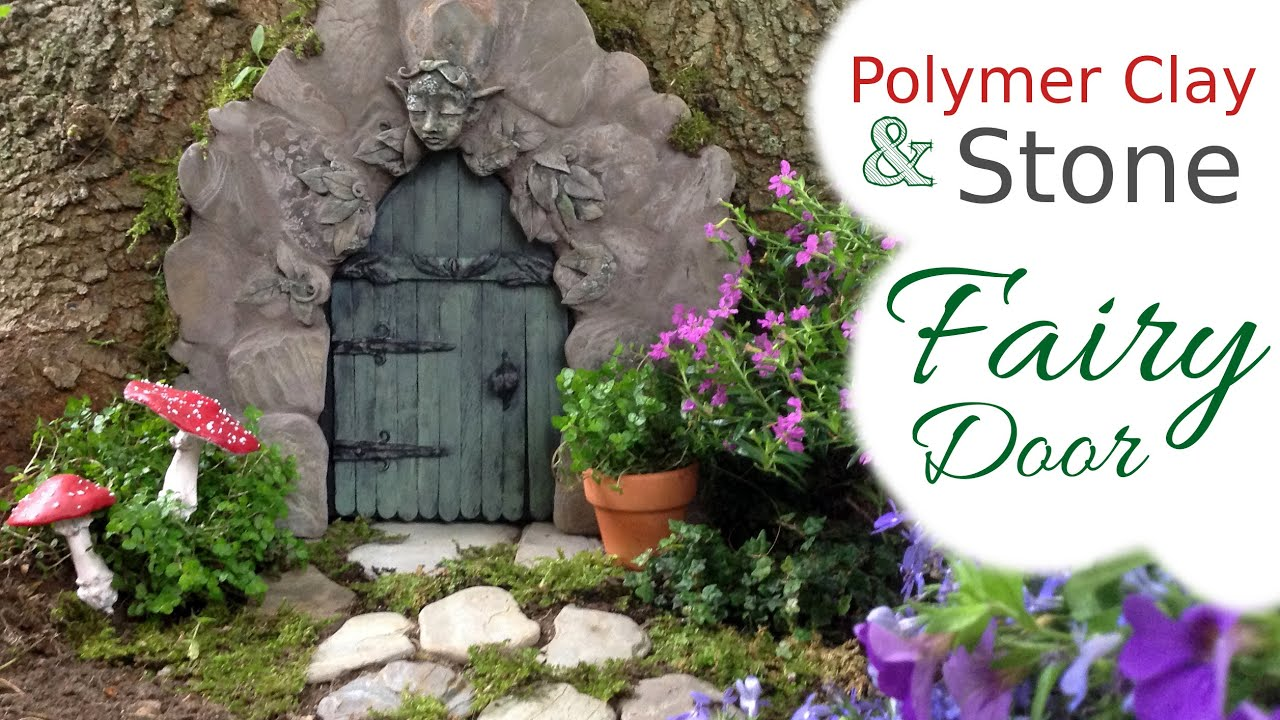 Stone wood polymer clay fairy door tutorial for the How to make a fairy door out of clay