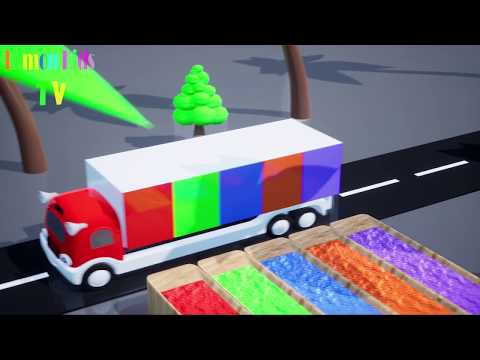 Learn Colors For Children With Water Cows Slide And Truck Vehicles #C Learn Colors With Tires Toy