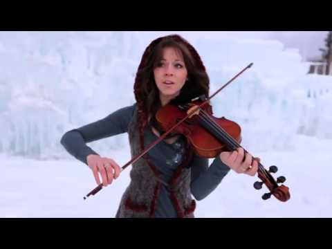 Девушка  во  льдах очень красиво играет  на скрипке под дабстеп.