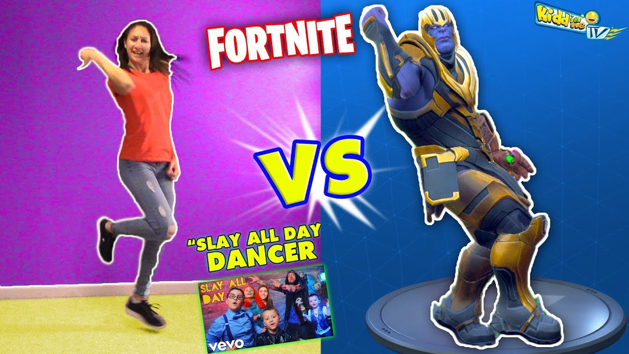 FORTNITE DANCE CHALLENGE w/ THANOS vs J-SKY, Dancer from FUNnel Vision Slay  All Day Music Video - YouTube
