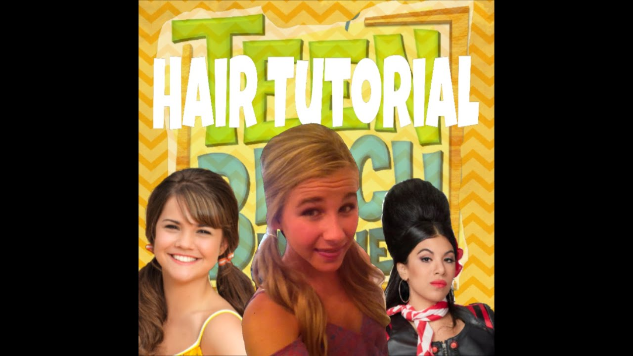 teen beach movie 60's hair tutorial: pigtails with a poof - youtube