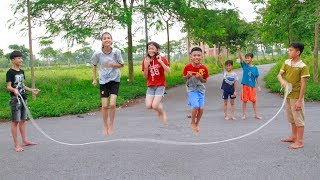 Kids Plays With Classic Games Jump Rope In The Outdoors Song For Children