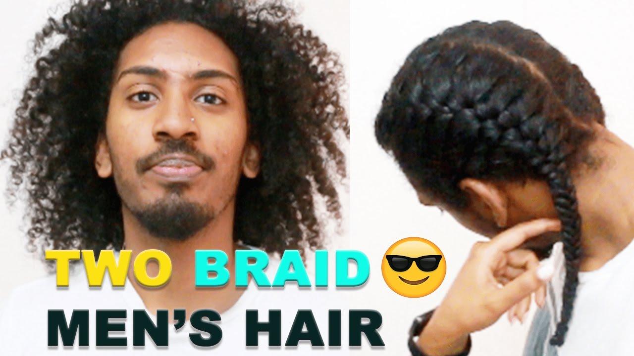two braid men tutorial mens curly hair ( girlfriend does hair)dutch braid and fishtail