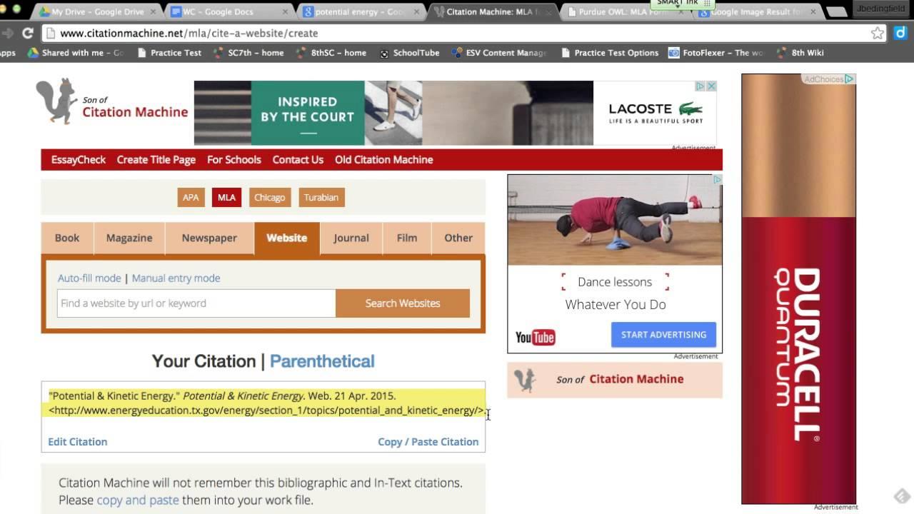 works cited page mla websites