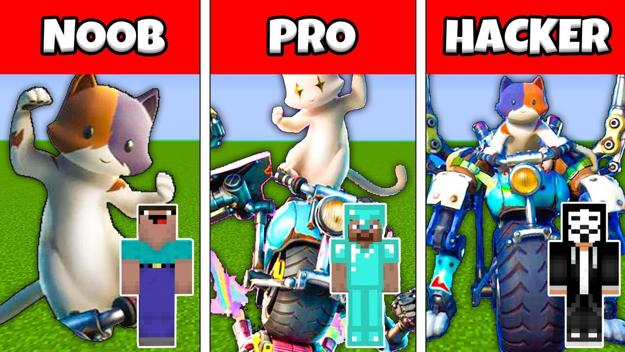 Minecraft Battle FAMILY KIT FORTNITE GO CAT GO EMOTES BUILD HOUSE NOOB vs PRO vs HACKER vs GOD