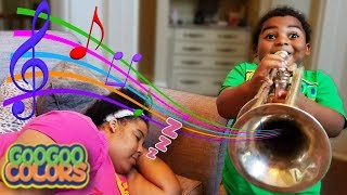WAKE UP MOM! GOO GOO GAGA PRETEND PLAY WITH MUSICAL INSTRUMENTS