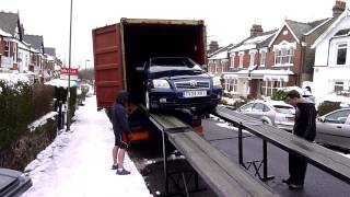Loading the car into the container