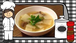 Корейский суп из говядины и редьки дайкон. Корейский суп.
