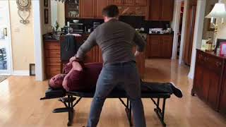 Scoliosis patient with neck pain and headaches gets full spine Chiropractic adjustment