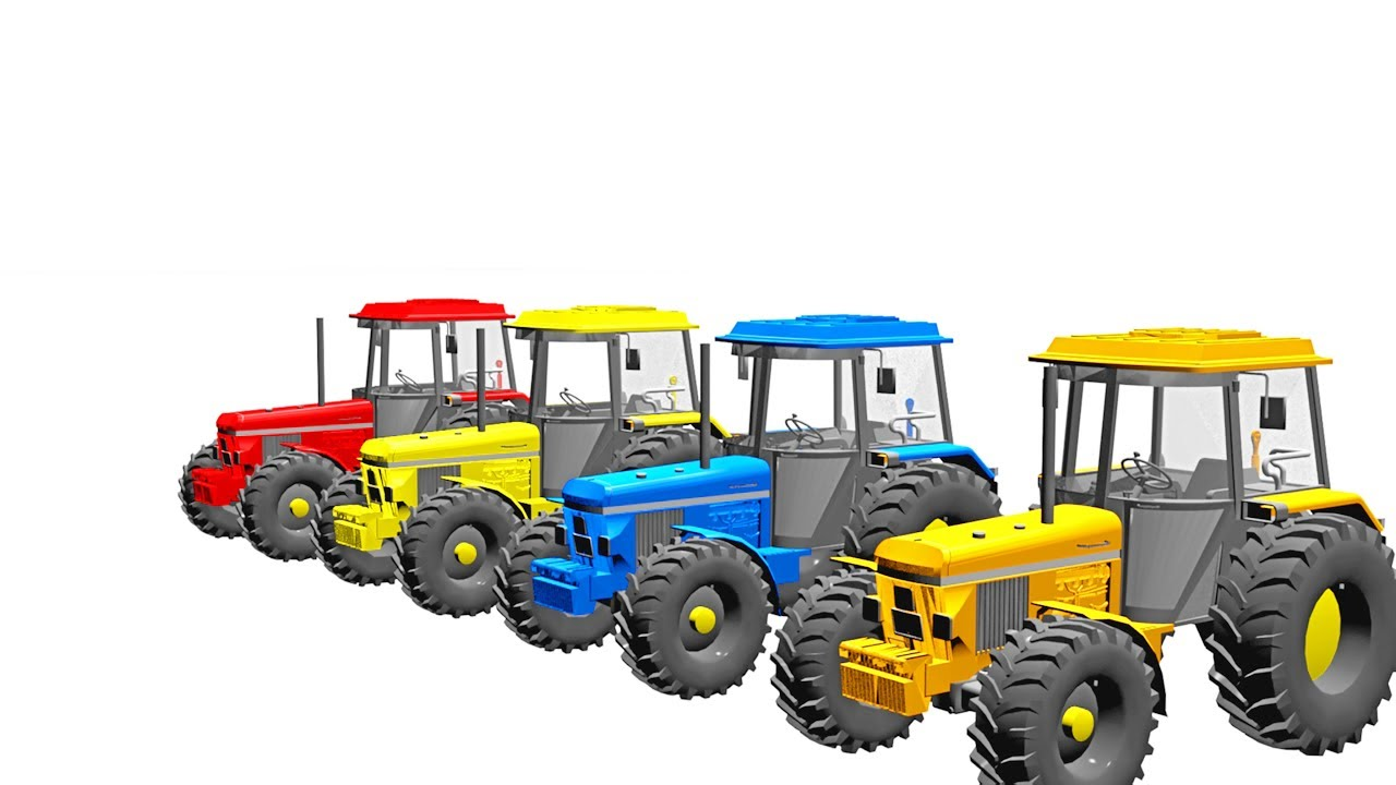 Learn the colors of tractors colored with wonderful colors