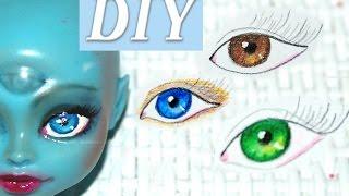 DIY как сделать ООАК Монстер Хай ООАК. Как нарисовать глаза кукле с нуля.(DIY для кукол. Как сделать ООАК из куклы. мастер класс рисуем глаза кукле Монстер Хай (Monster high) Перерисовка..., 2017-01-06T10:00:02.000Z)